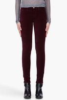 J BRAND Burgundy Velvet Stretch Mid Rise Trousers