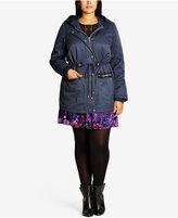 City Chic Trendy Plus Size Faux-Fur-Trim Parka