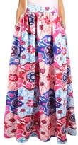 Novia's Choice Women African Floral Print Pleated High Waist Maxi Skirt Casual A Line SkirtL