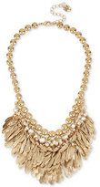 Betsey Johnson Gold-Tone Feather and Crystal Shaky Collar Necklace