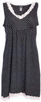Rene Rofe Women's Sleep Robes DOTS - Black & White Polka Dot Lace-Trim Sweet Sleep Chemise - Women