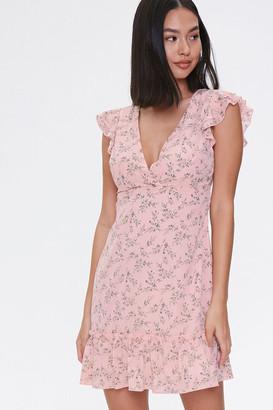 Forever 21 Floral Print Cutout Dress