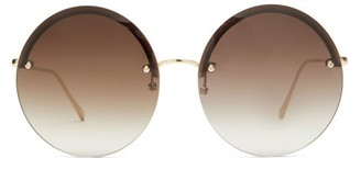Linda Farrow Adrienne Round 22kt Gold-plated Sunglasses - Gold