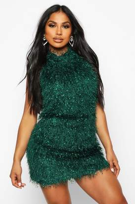boohoo Feather Knit Halterneck Mini Dress