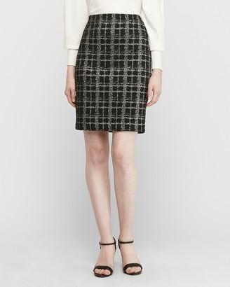 Express High Waisted Metallic Windowpane Pencil Skirt