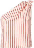 Rosie Assoulin one shoulder striped blouse