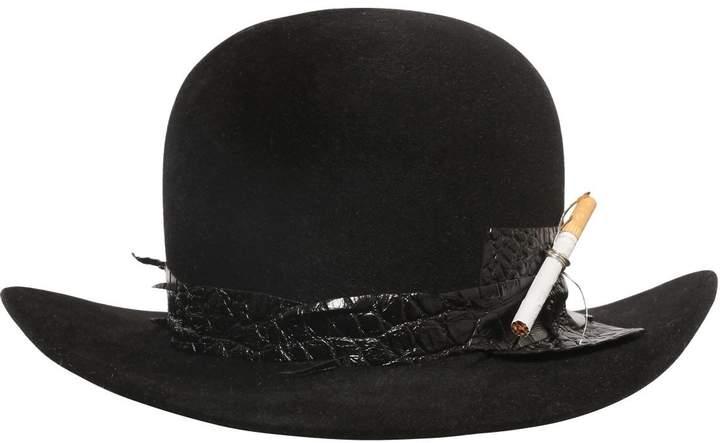Möve Fur Felt Bowler Hat W/ Cigarette Holder