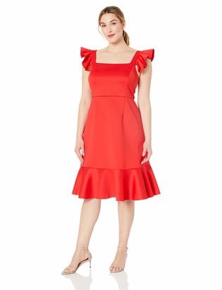 Betsey Johnson Women's Plus Size Scuba Midi Dress with Ruffled Shoulders