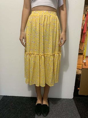 The Drop Women's Standard Yellow Floral Print Loose High Rise Flowy Midi Skirt XS