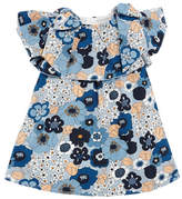 Chloé Allover Floral Bow-Shoulder Dress, Size 2-3