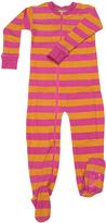 New Jammies Pink & Orange Stripe Organic Zippered Footie - Kids