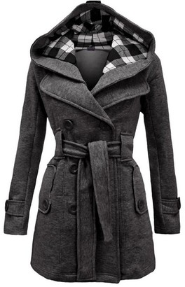Queenhairs Women's Plaid Hooded Coat Belt Double-Breasted Long Jacket Dark Gray