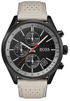 HUGO BOSS Grand Prix Stainless Steel and Leather-Strap Watch