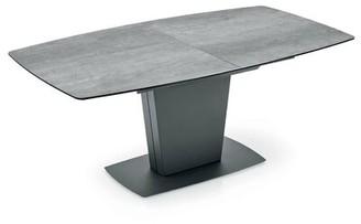 """17 Stories Noga Extendable Dining Table Top Color: Cement Ceramic Wood, Base Color: Matte Black, Size: 30"""" H x 60"""" L x 39.4"""" W"""