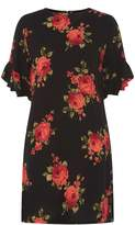 Dorothy Perkins Black Rose Floral Ruffle Sleeve Shift Dress