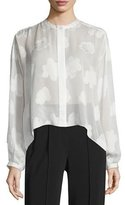 Elizabeth and James Long-Sleeve Silk Burnout Blouse, White