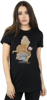 Disney Princess Women's Belle Filled Silhouette Boyfriend Fit T-Shirt XX-Large Black