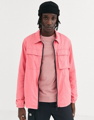 ASOS DESIGN utility jacket in acid wash pink