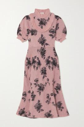RED Valentino Ruffled Jacquard-knit Midi Dress - Pink