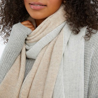 Summersalt The Coziest Cashmere Blend Ribbed Scarf - Wolf & Toffee