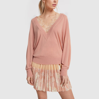 Chloé Lace-Trim V-Neck Sweater