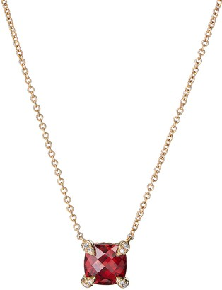 David Yurman 'Chatelaine' diamond garnet 18k yellow gold pendant necklace