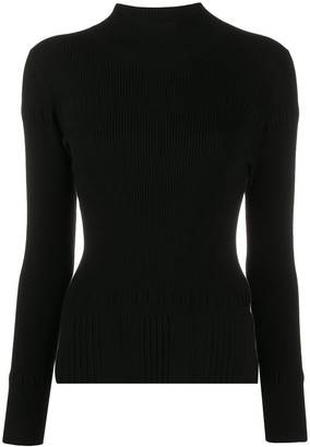 Luisa Cerano Ribbed Mock Neck Long Sleeved Top
