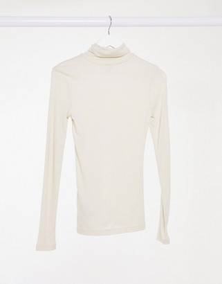 Pieces roll neck top in cream