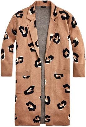 J.Crew Ella Leopard Open Front Long Sweater Blazer