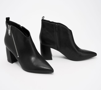 Marc Fisher Leather Booties with Zipper Detail - Retta