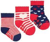 Jo-Jo JoJo Maman Bebe 3 Pack Heart Socks (Baby) - Red/Cream Stripe-6-12 Months