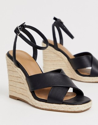 Asos Design DESIGN Jones square toe wedge espadrilles-Black