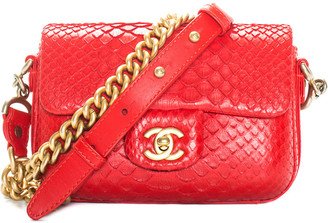 Chanel Red Python Leather Mini Single Flap Bag
