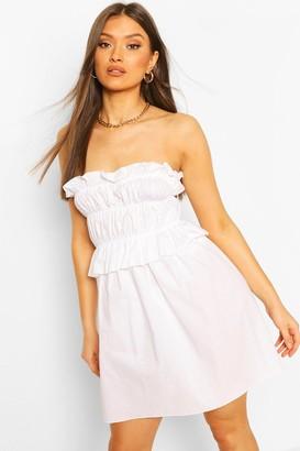 boohoo Cotton Ruched Bandeau Shift Dress