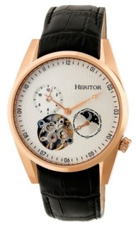 Heritor Automatic Alexander Rose Gold & White Leather Watches 43mm