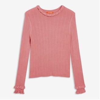 Joe Fresh Women's Mock Neck Rib Sweater, Dusty Rose (Size XL)