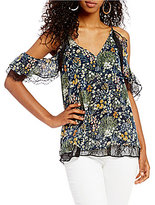Miss Me Floral Printed Cold-Shoulder Lace Top