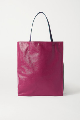 Marni Museo Medium Color-block Crinkled-leather Tote - Pink