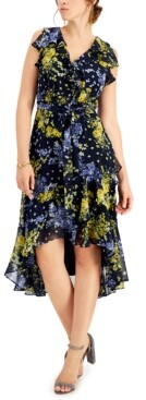 Thumbnail for your product : Taylor Petite Ruffled Floral Midi Dress