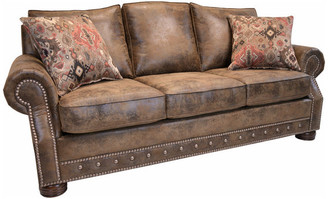 Beam & Oak Magnus Brown Southwestern Sofa with Nailhead Trim