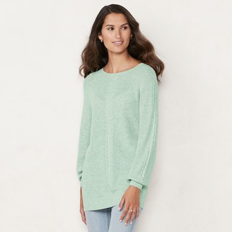 Lauren Conrad Women's Cable Front Knitted Tunic Sweater