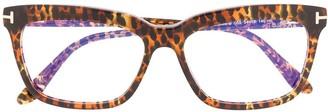 Tom Ford FT5686B leopard print glasses