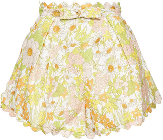 Zimmermann Scalloped Bow-embellished Floral-print Linen Shorts