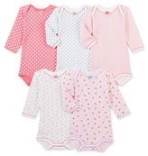 Petit Bateau Set of 5 baby girls long-sleeved bodysuits