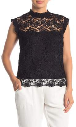 Nanette Lepore NANETTE Cap Sleeves High Neck Lace Top