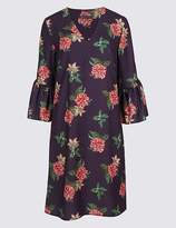 Marks and Spencer Floral Print Flared Cuff Sleeve Tunic Dress