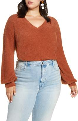 Halogen Fuzzy V-Neck Sweater