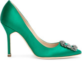Manolo Blahnik Hangisi 105 emerald satin pump
