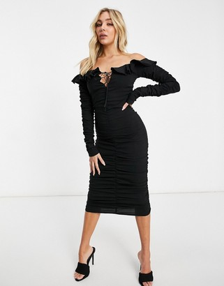 I SAW IT FIRST bardot lace up ruched midi dress in black