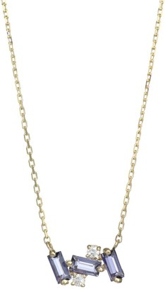 Suzanne Kalan 14K Yellow Gold, Iolite & Diamond Mini Bar Pendant Necklace